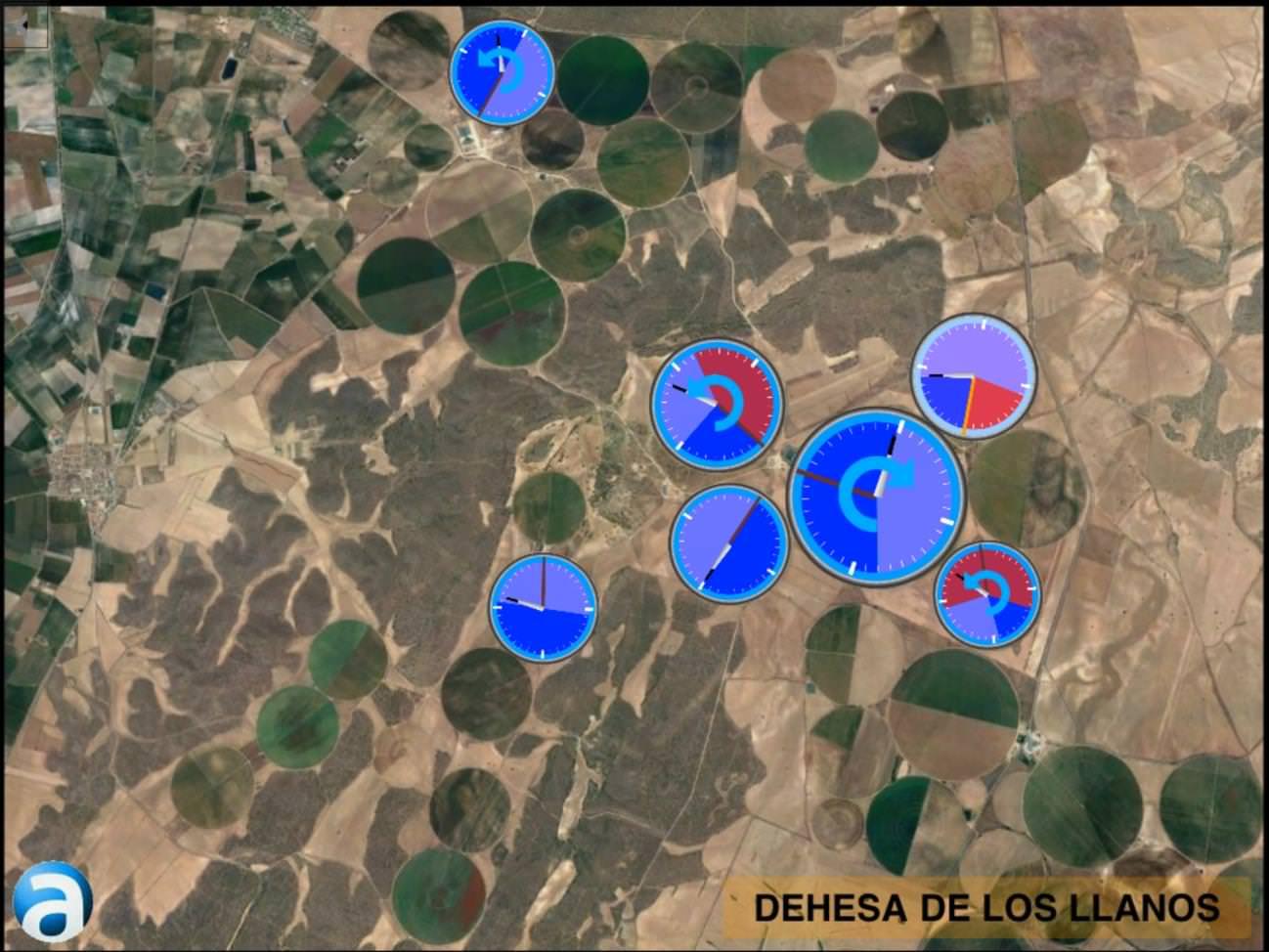 CLIENTE: DEHESA DE LOS LLANOS, S.L.   PROYECTO: AUTOMATIZACIÓN E INTEGRACIÓN DE SISTEMAS DE RIEGO PIVOTS (SICOP)  LOCALIZACIÓN: DEHESA DE LOS LLANOS  (Albacete)  DESCRIPCION: Automatización de 7 PIVOTS con posicionamiento de GPS, controlando presión en alero, cabeza y caudal para control preciso del riego. Esta actuación permite al cliente un control eficiente de todos los parámetros de presiones, temperaturas y caudales optimizando los recursos hídricos y energéticos de la instalación. Y además instalaciones con un retorno económico muy rápido.