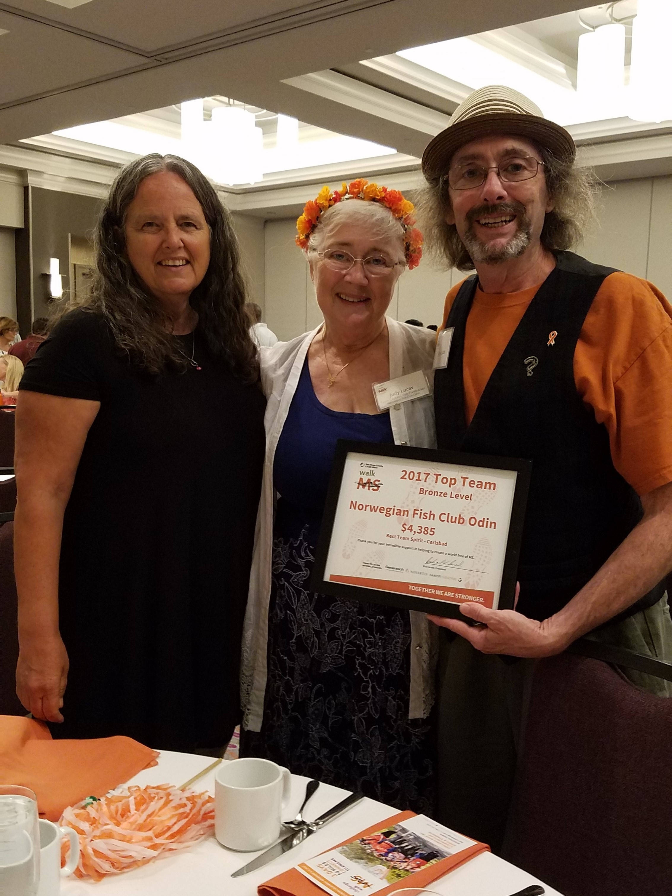 The NFCO Walk MS  Team 2017 Award. Paula Montagna, Judy Lucas, and James Nelson-Lucas.