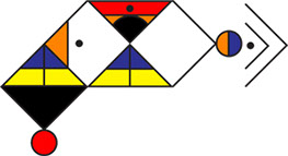 "This is ""Isibheqe Sohlamvu"" written in its language. Notice that the triangular units are not linear, and have been placed artistically and colored."