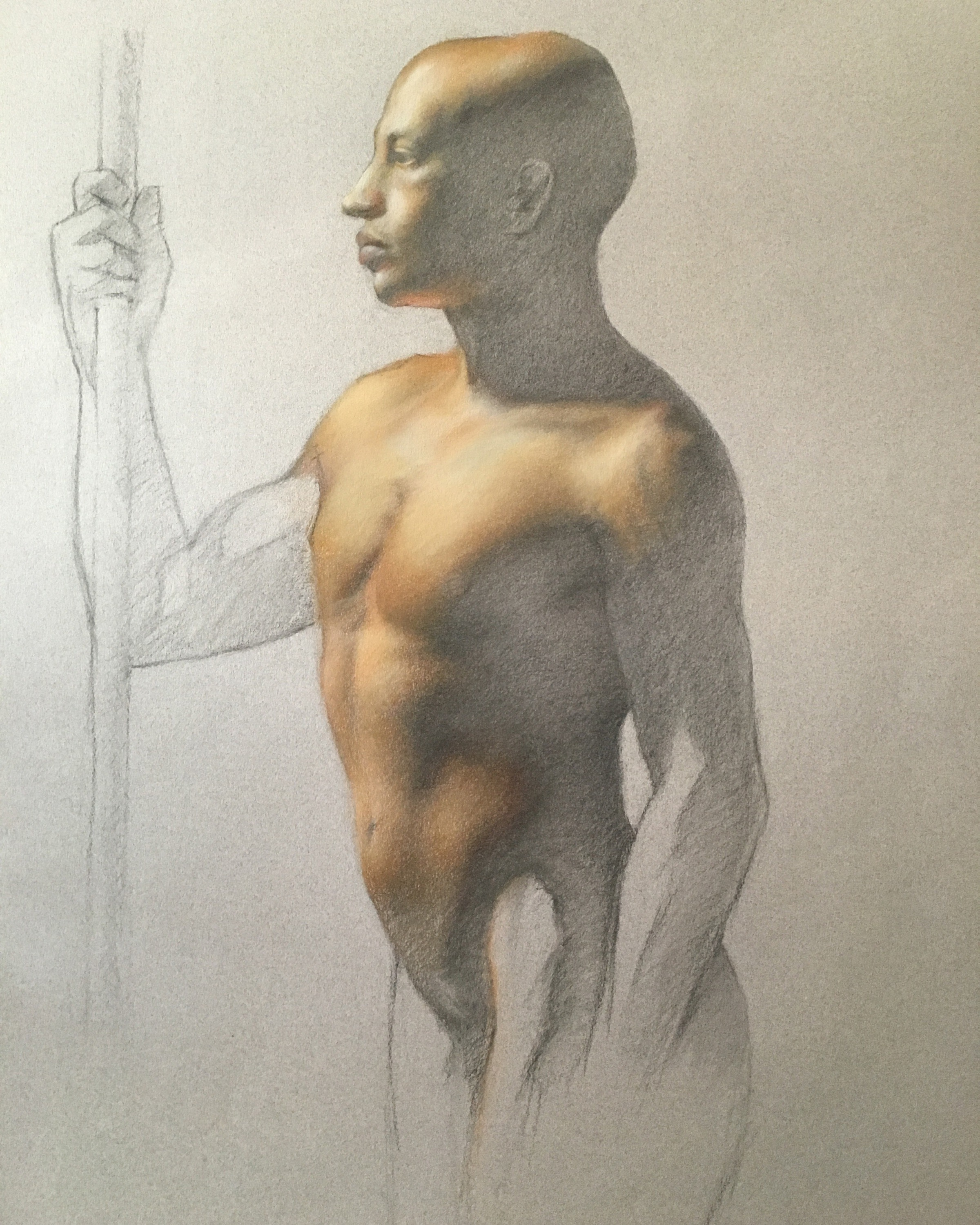 Seneca , 2016, charcoal and pastel pencil on toned paper, 19 x 25 in. Private collection.
