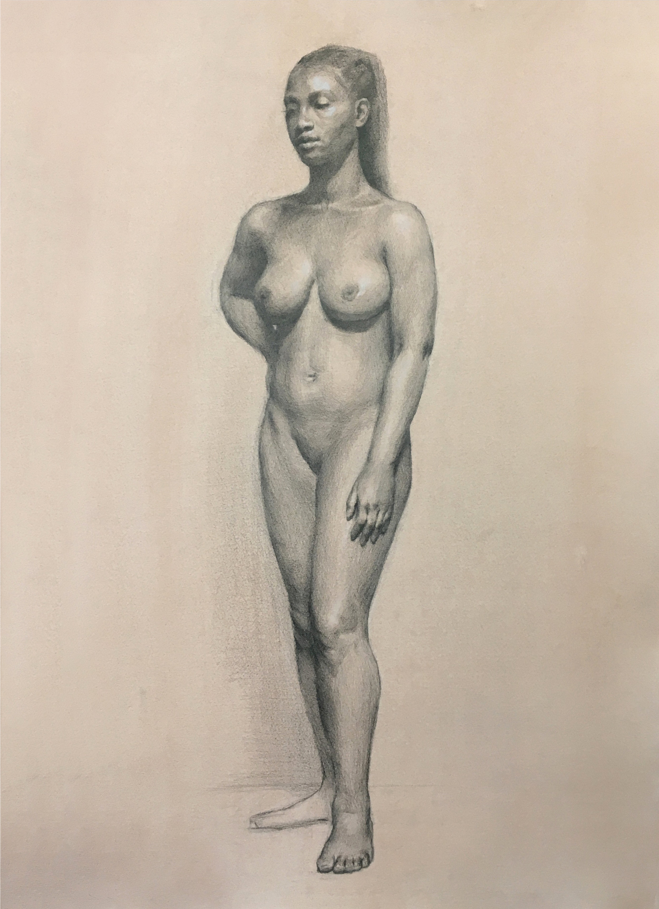 Drawing of Fatima, 2017, graphite and chalk on toned paper, 18 x 24 in. Private collection.