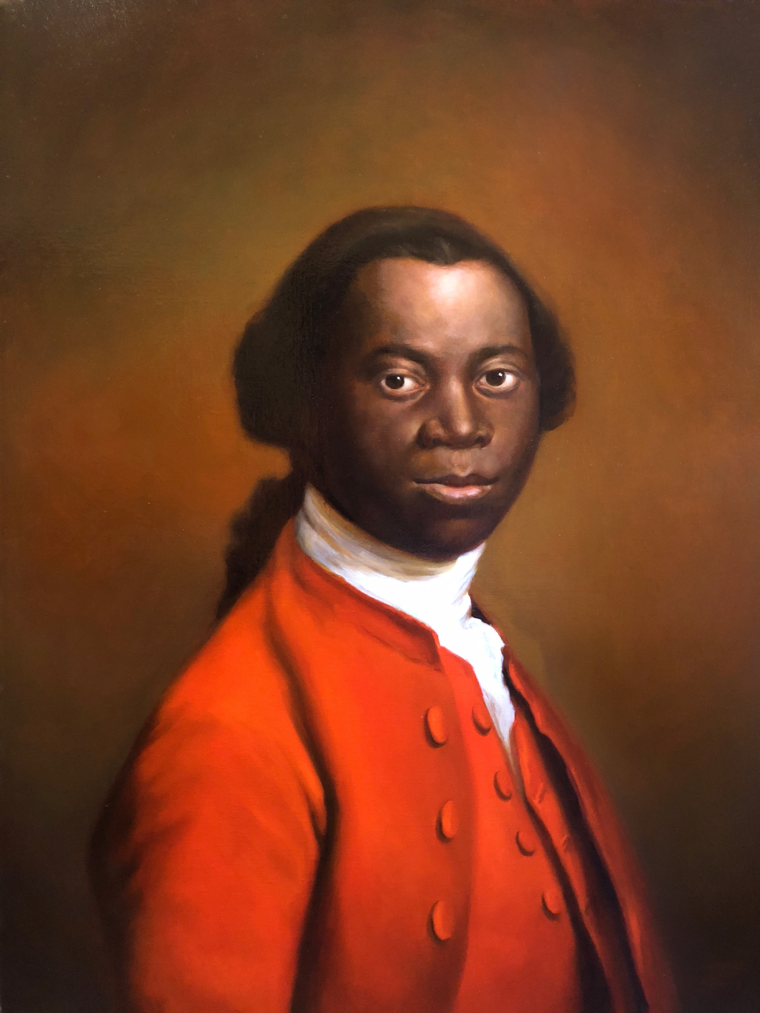 """Ignatius Sancho after Allan Ramsay, 1757""  2018, oil on linen, 20 x 26 in. Private collection."