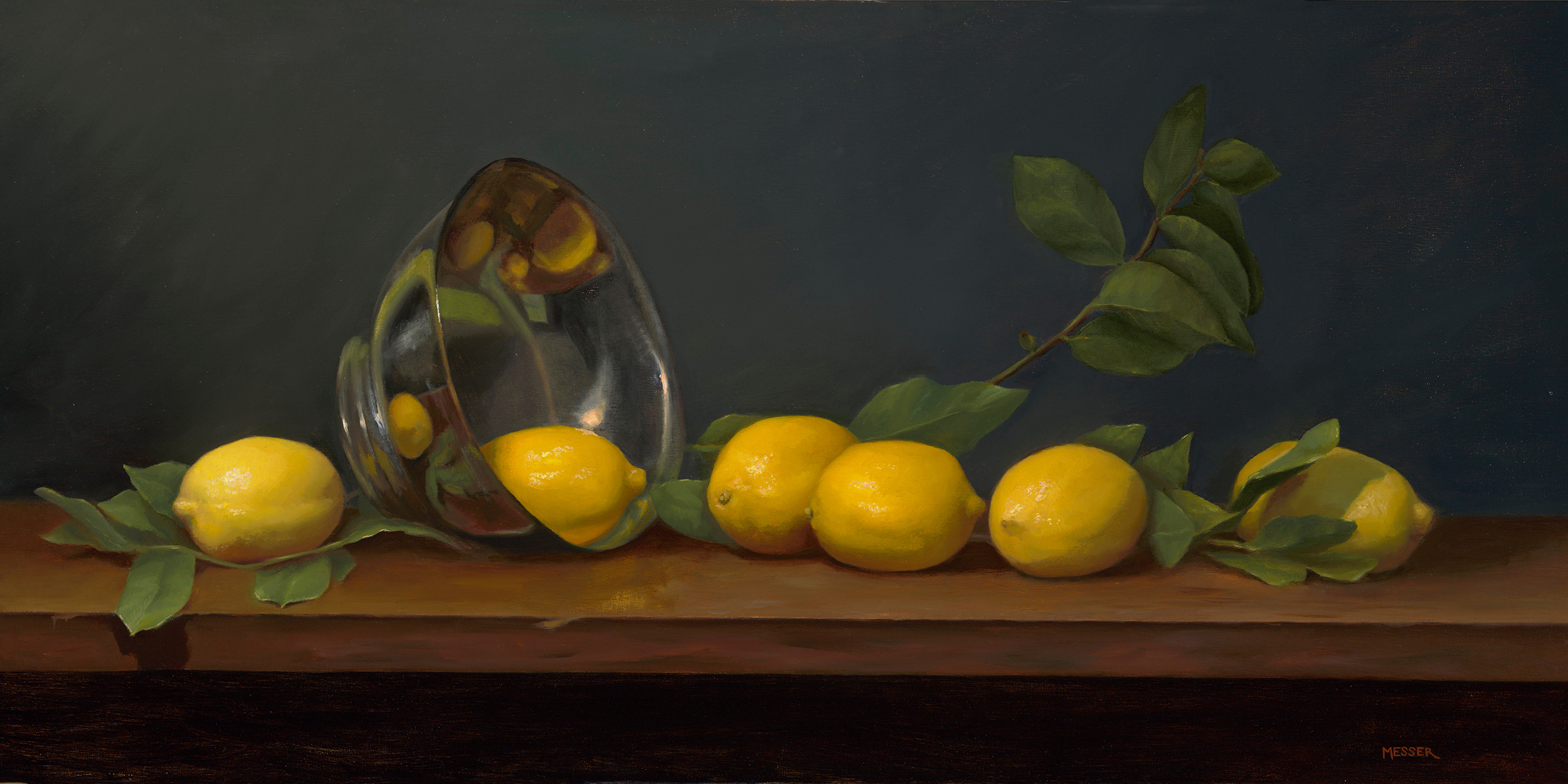 Lemons with Silver Bowl,  2019, oil on linen, 28 x 14 in. Commissioned.