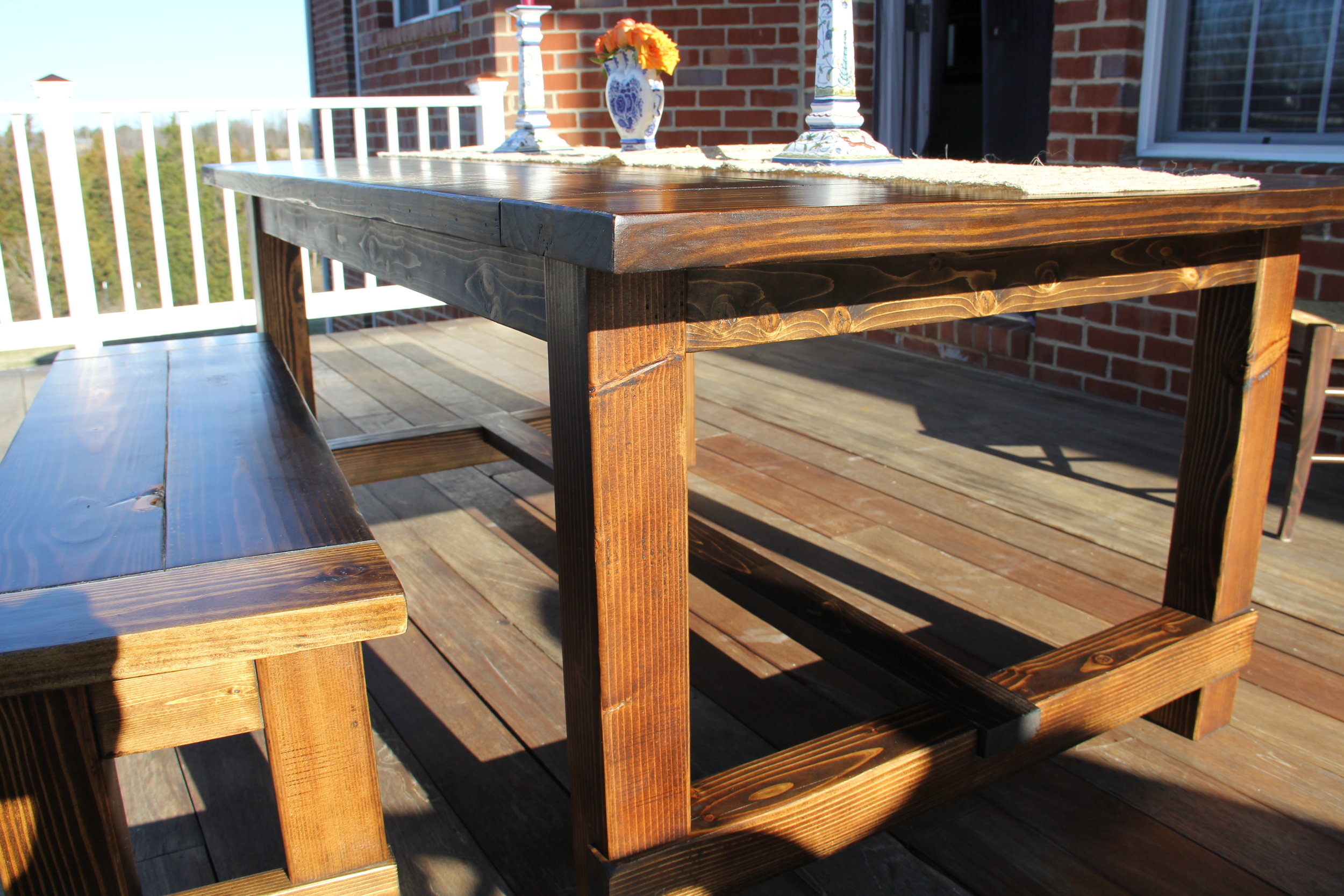 6 Ft Farmhouse Dining Table & Bench in Pine with Antique Walnut Finish.