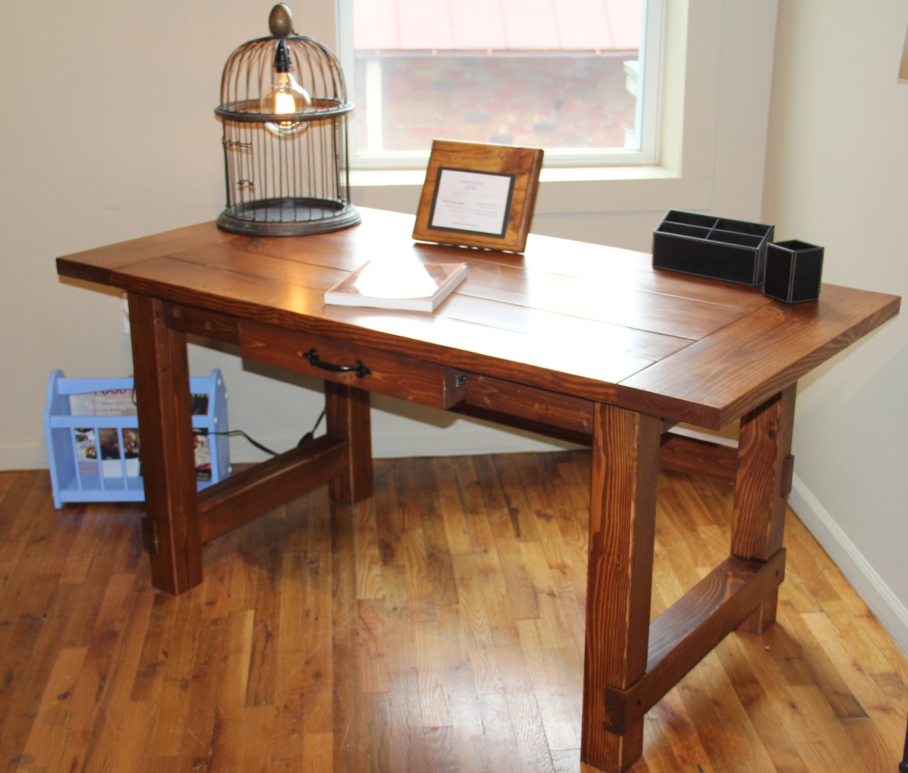Farmhouse Desk in Pine with English Chestnut Finish