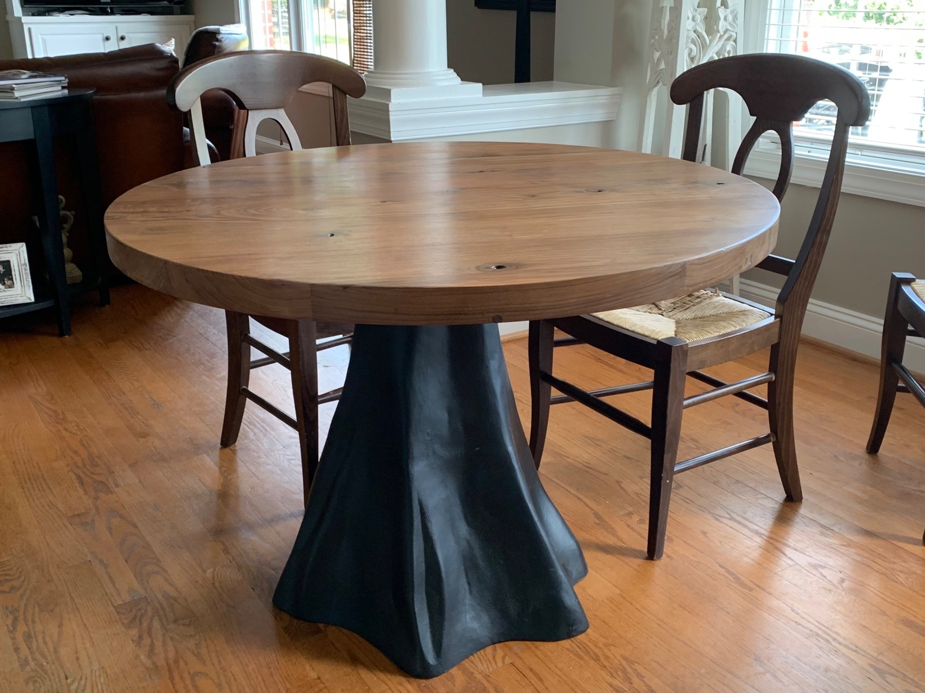 Round Walnut Table with Cast Iron Base