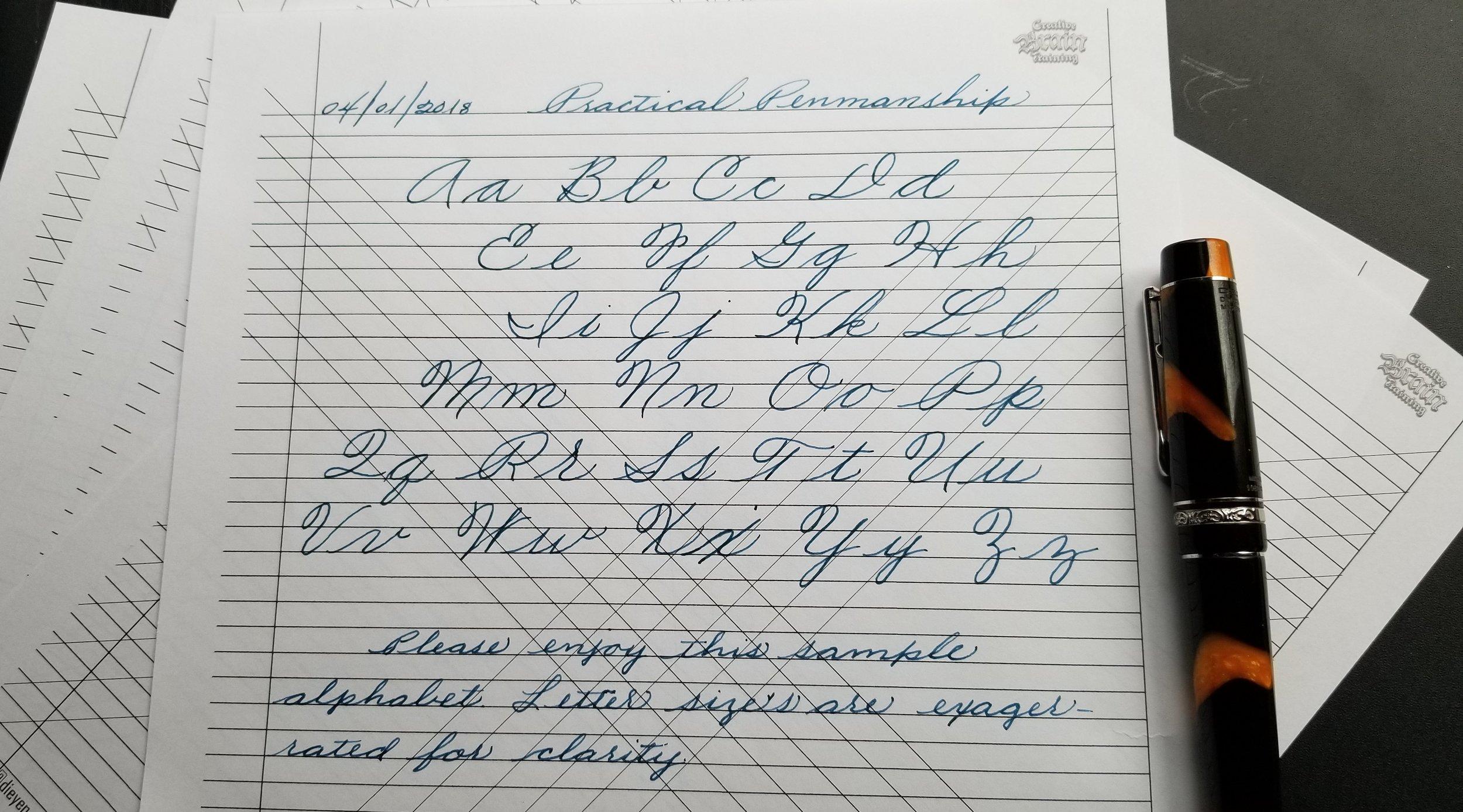 Free Cursive Alphabet Sample -