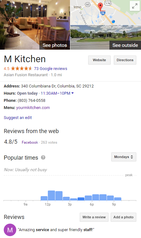 M Kitchen Google Page