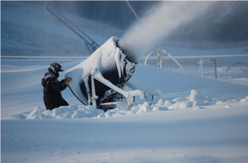 A potential method of delivering the salt water droplets to the atmosphere is to modify snow making machines, to spray nano sized salt water droplets instead of snow.