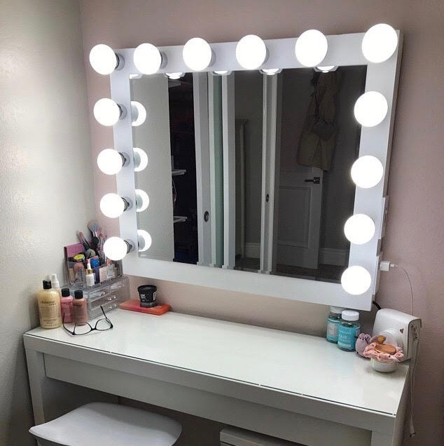 14 Bulb Vanity Mirror With Hollywood Lighting Perfect For Ikea Vanity Bulbs Not Included Charm Vanities