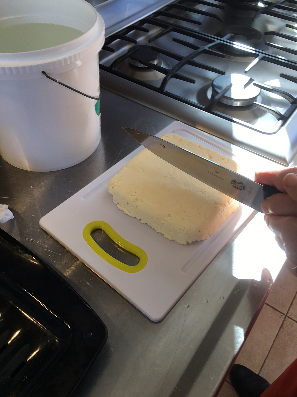 Cutting the finished product!