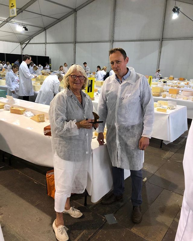 Great day judging at Nantwich with Martin Moyden of #mrmoydencheese - judge blues and Manchego ... #nantwich great show