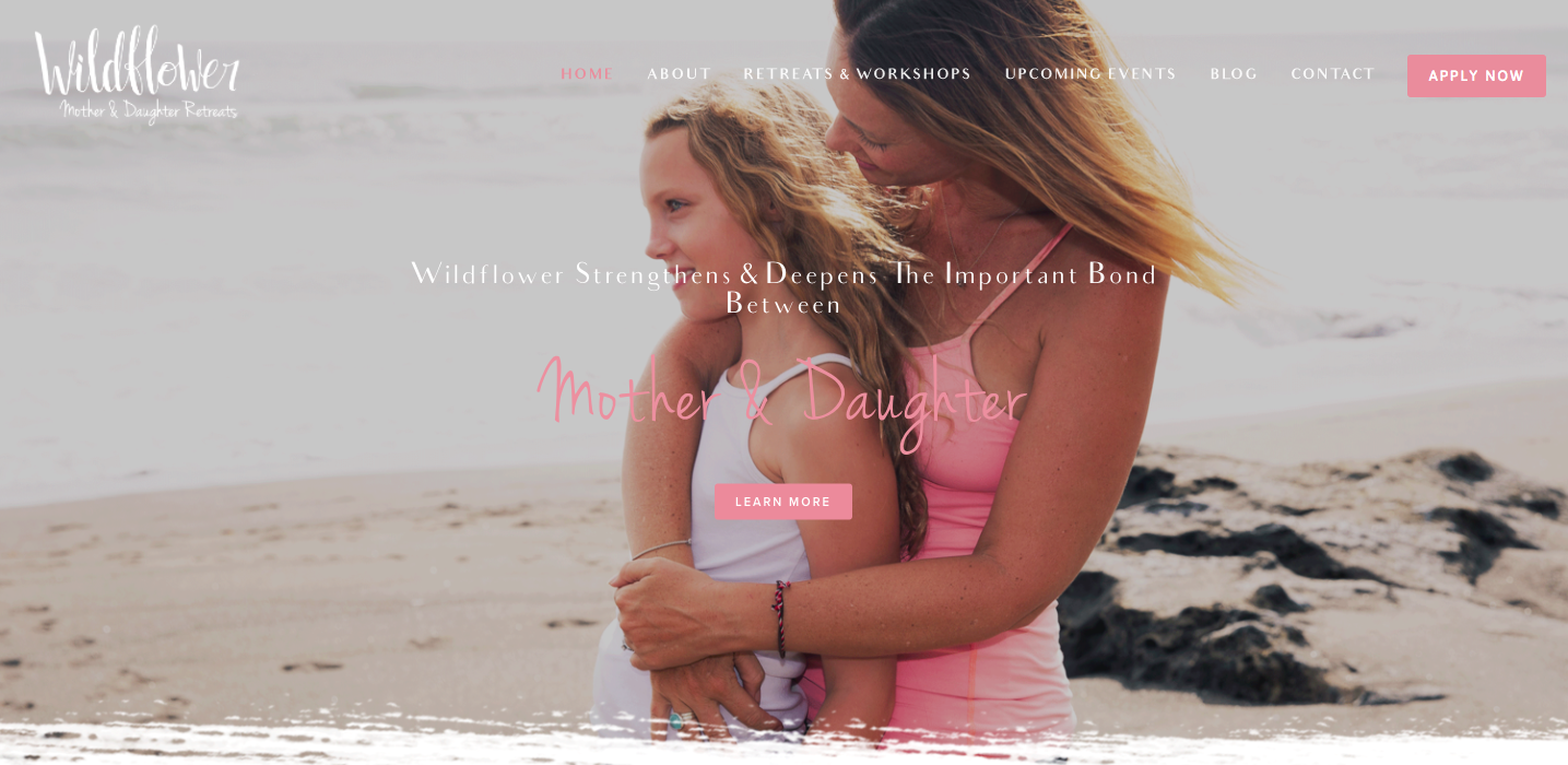 Homepage of Wildflower Mother & Daughter Retreats