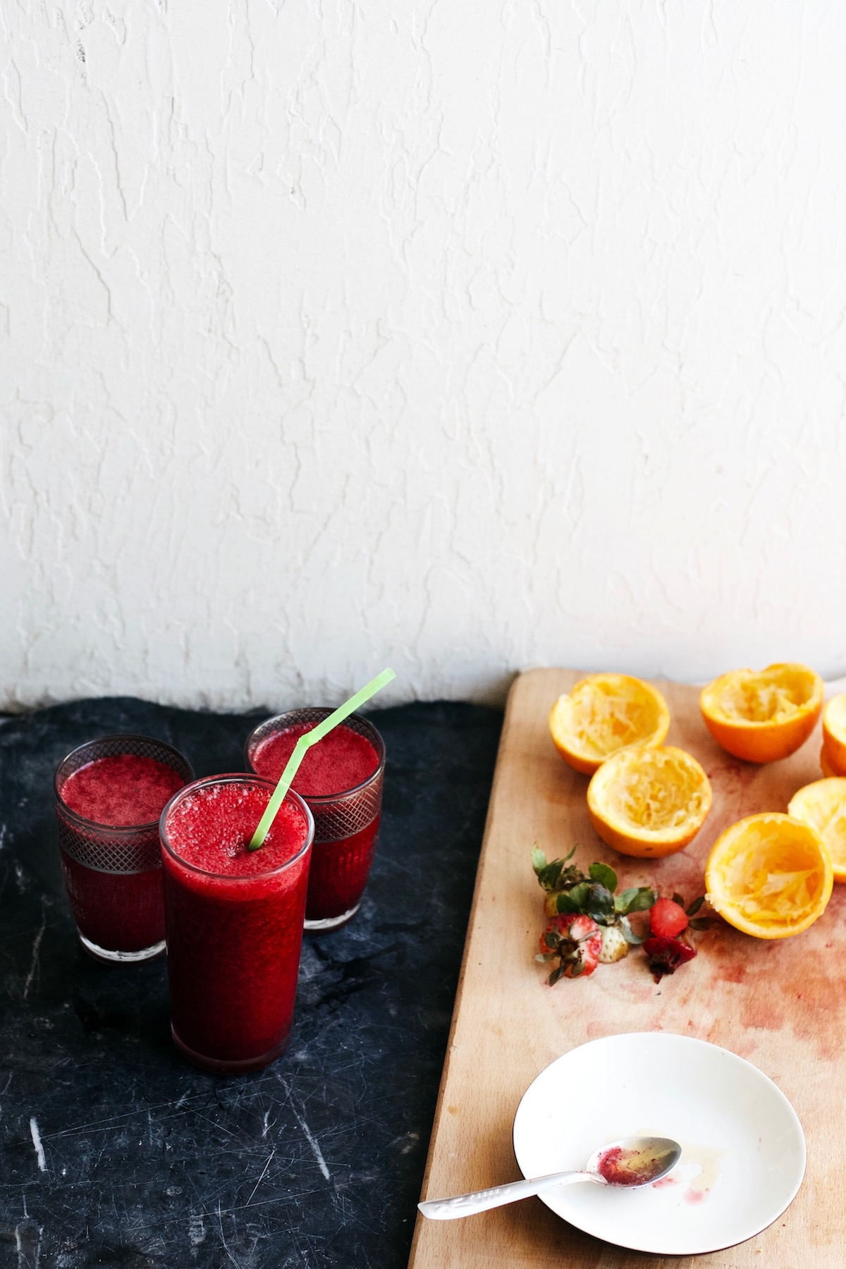 Ruby Red Resilience Juice- An immunity packed smoothie w/ beets, orange, strawberries + honey   Ruby Josephine