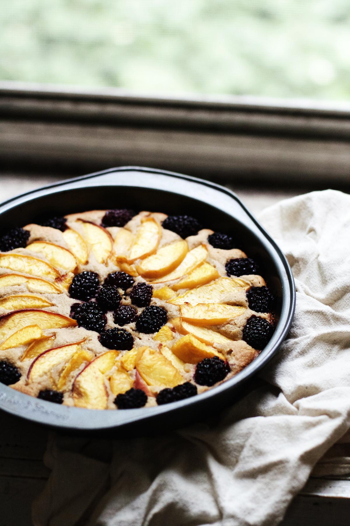 Peach + Blackberry Almond Cake {gluten-free} | Ruby Josephine