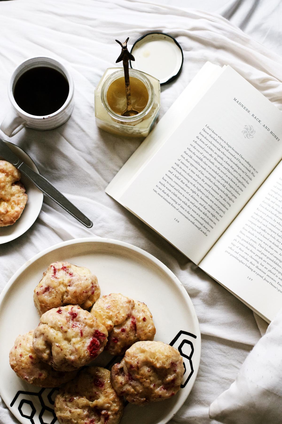 Honey-Glazed Raspberry Lemon Scones / Madness, Rack, + Honey / Books + Breakfast by Ruby Josephine