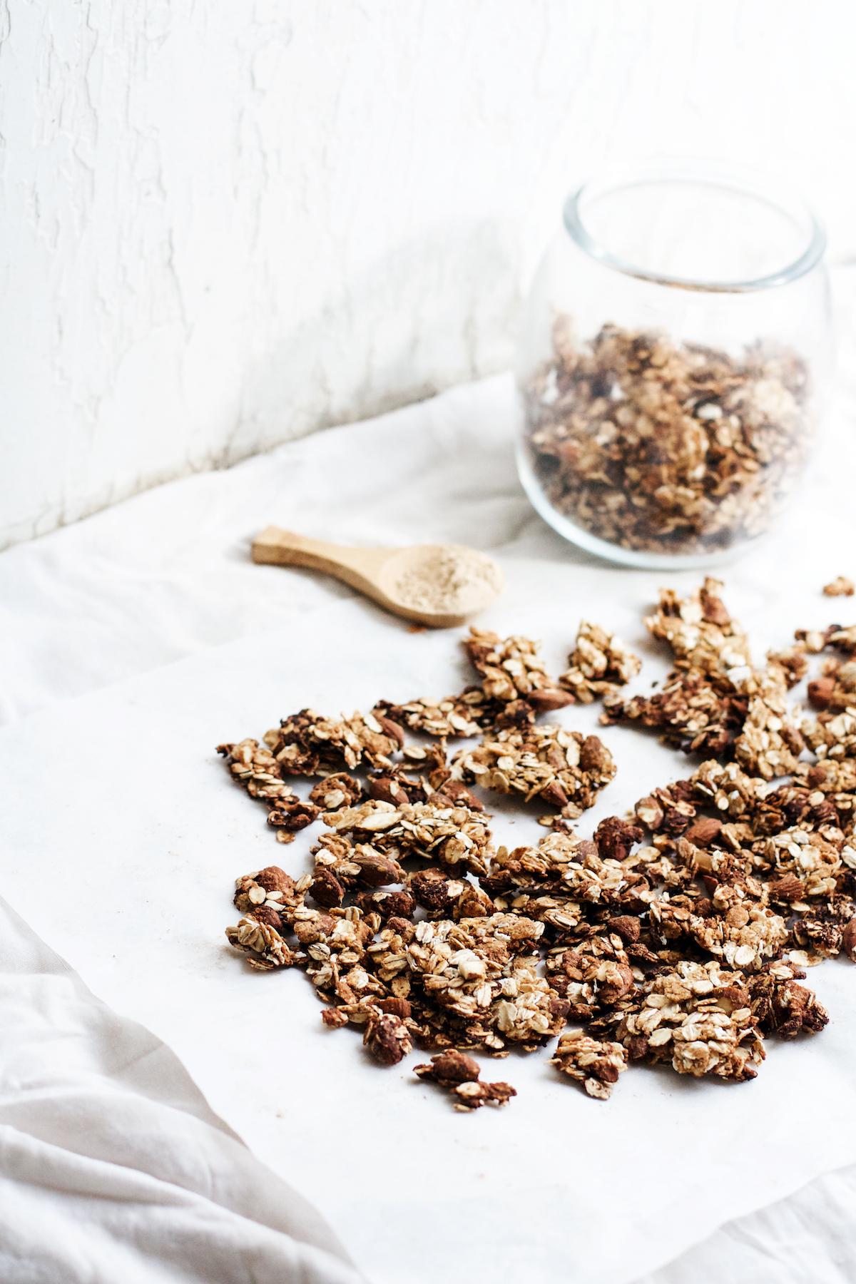 Almond, Maca, + Chickpea Flour Granola {gluten-free + vegan options} | Ruby Josephine