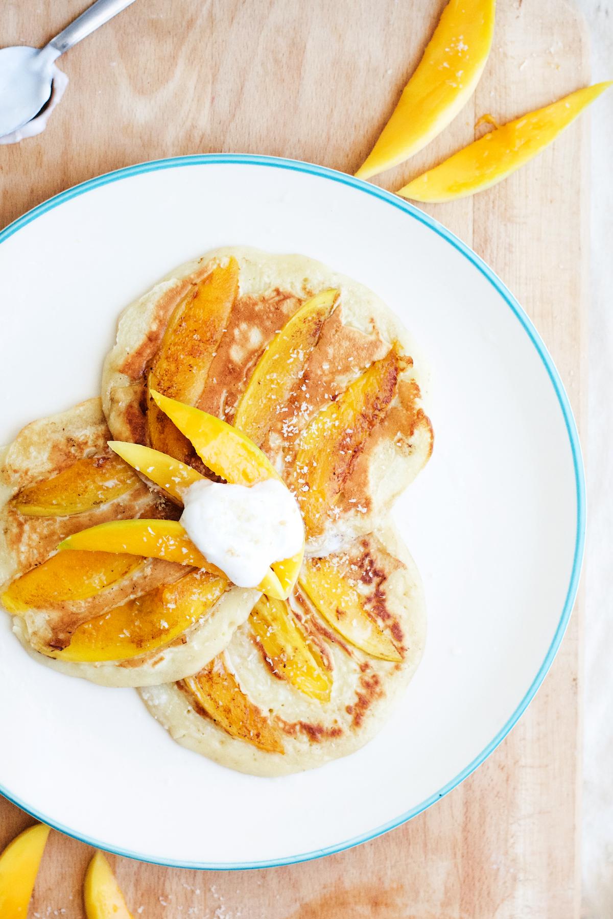 Vietnamese-Style Mango Pancakes with Honey Coconut Cream (refined-sugar free) | Ruby Josephine
