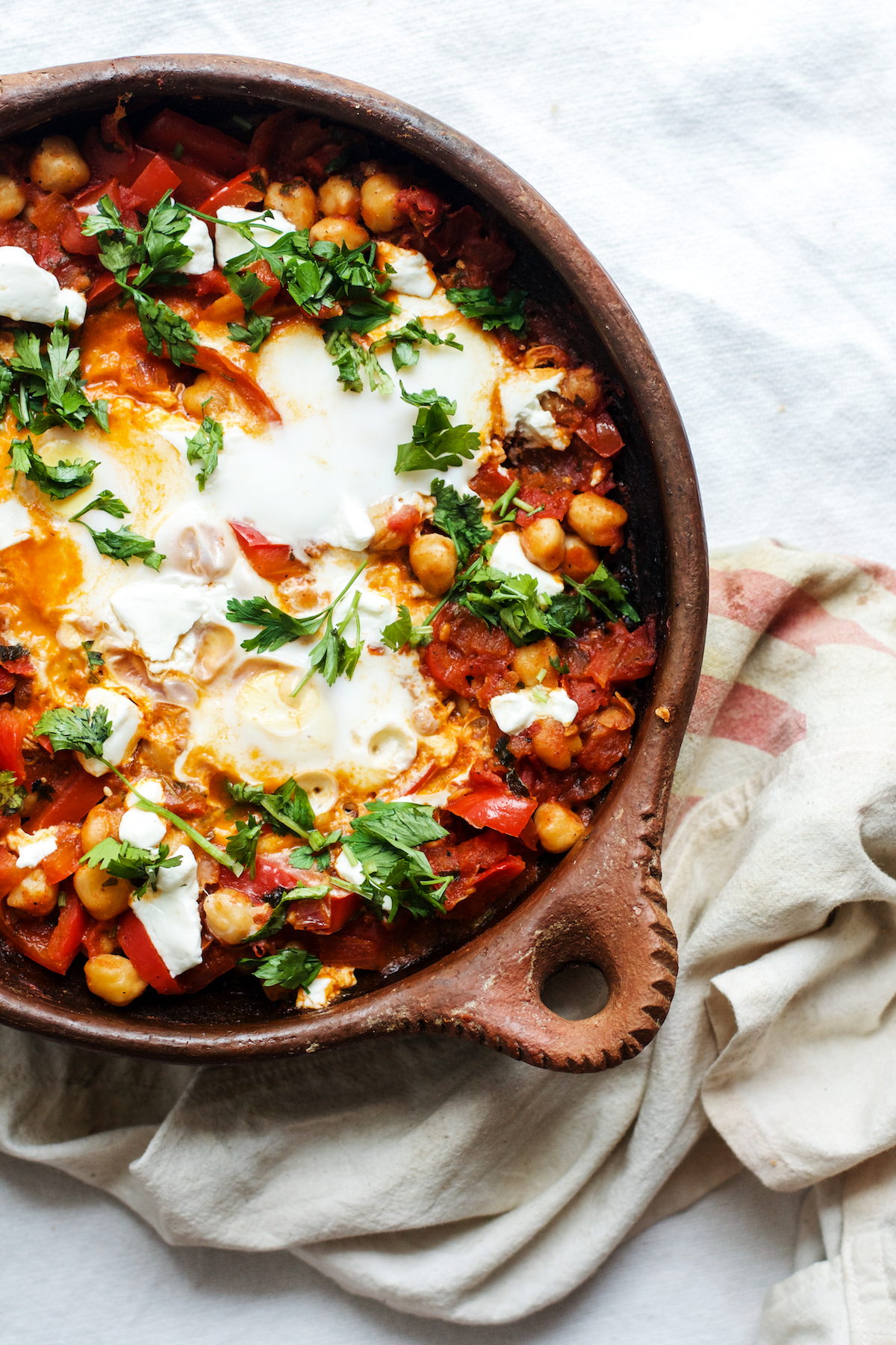 Chickpea Shakshuka with Red Peppers + Goat Cheese | Ruby Josephine