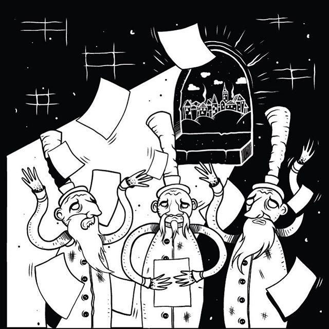 'In Silovia, a group of learned Analysts met in a Great Conflab to resolve a growing crisis.' The Book of Pimdamman, chapter 1 illustration by @junkyardla #illustratorsoninstagram #censhare #whosaysb2bhastobeboring #directmarketing #junkyardla #douglassday #creativeshop #branding