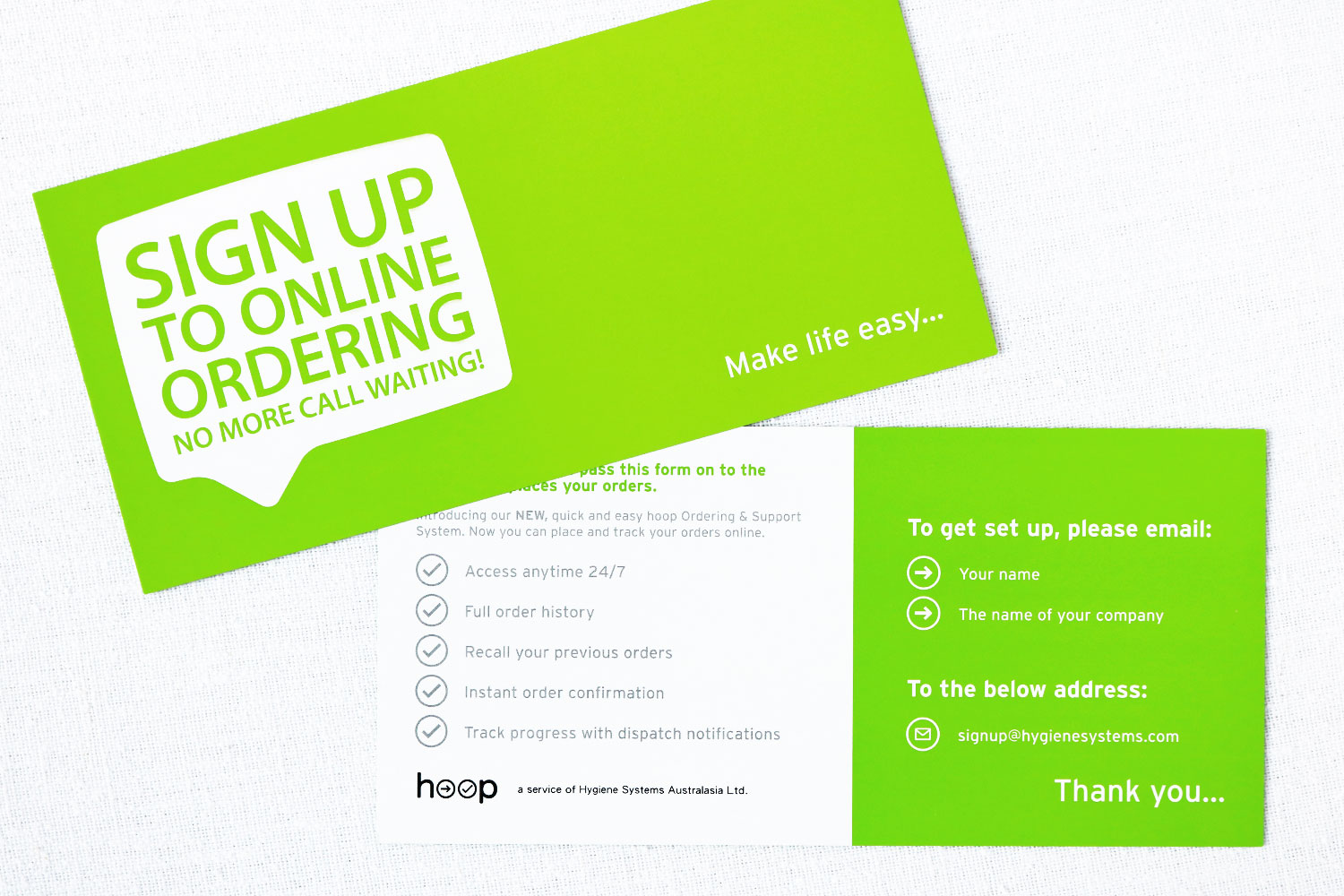 Hoop Online Ordering Cards