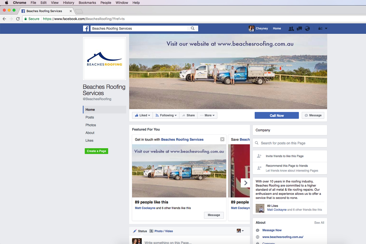 Facebook Page Design for Beaches Roofing