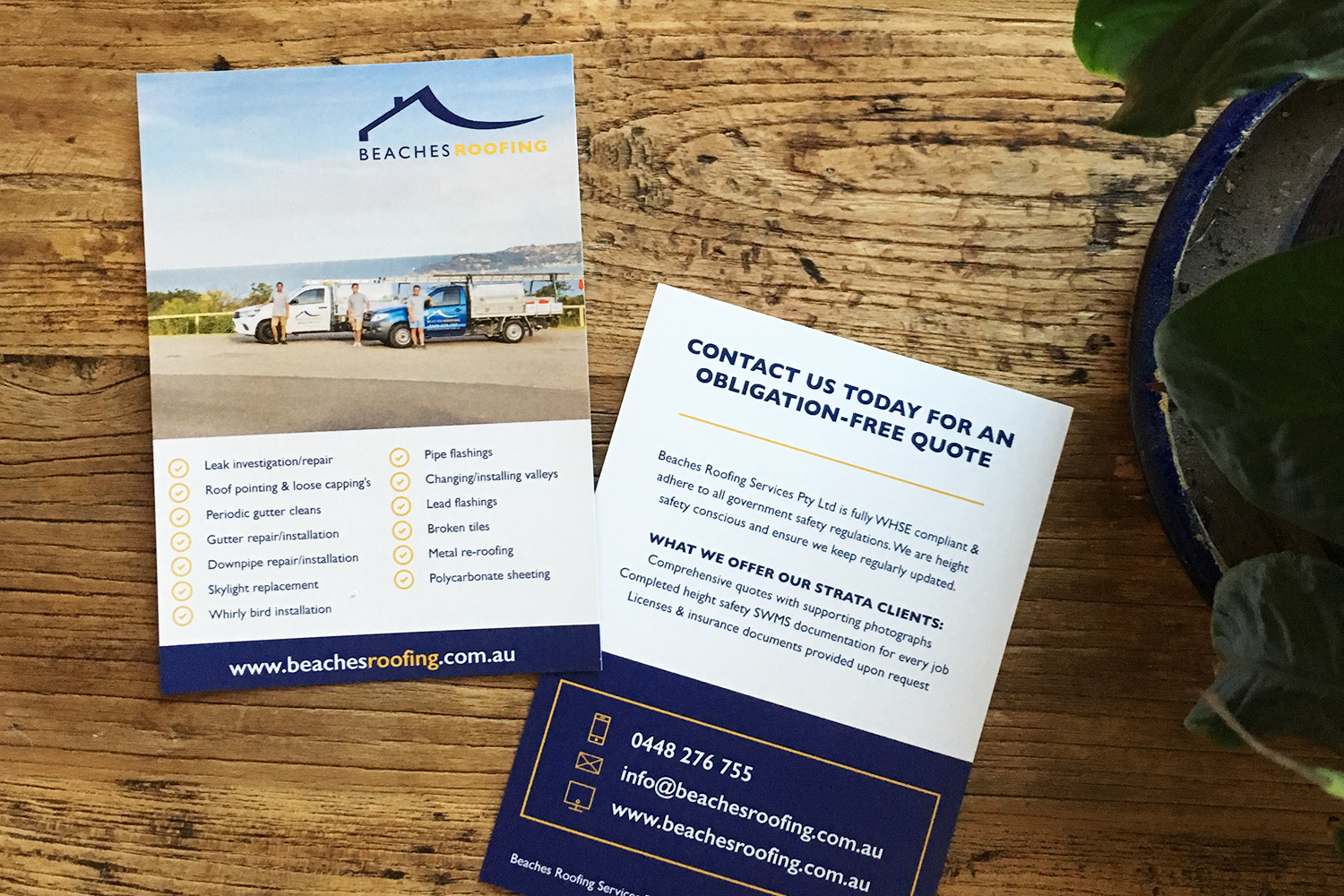 A5 Flyer Design for Beaches Roofing