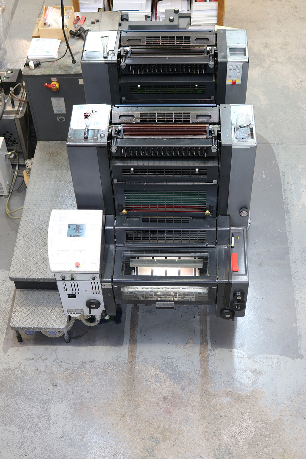 Bird's Eye View of the Offset Printing Machine printing  Camille Co.  packaging