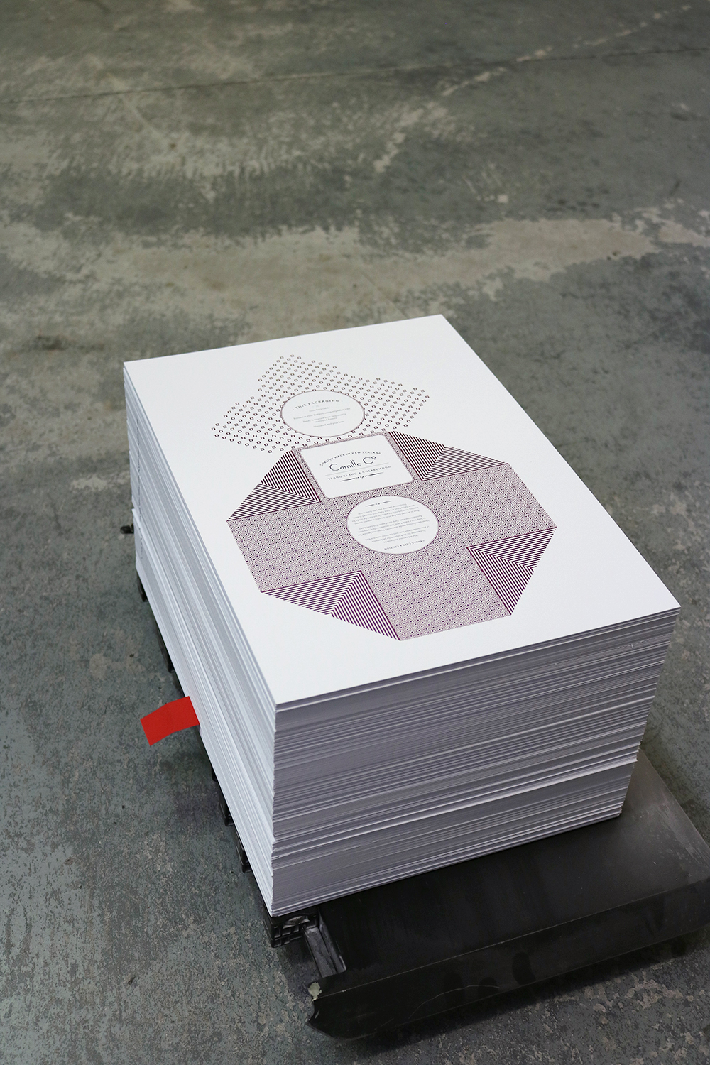 A stack of Camille Co. printing is now ready for die-cutting