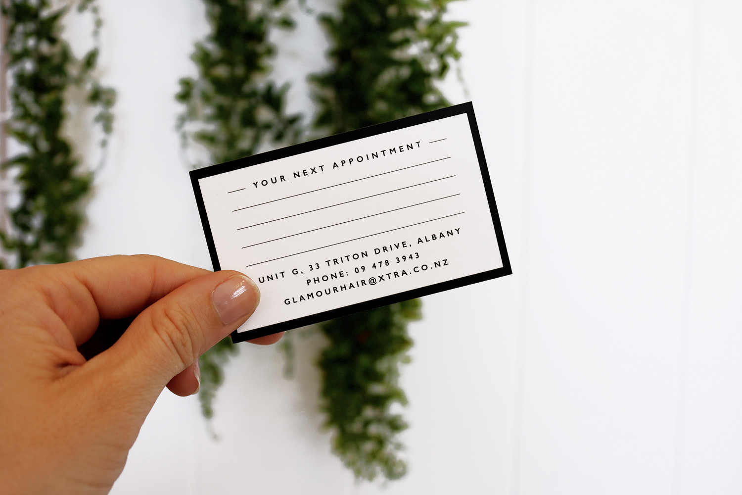 Glamour Hair Boutique Appointment Cards