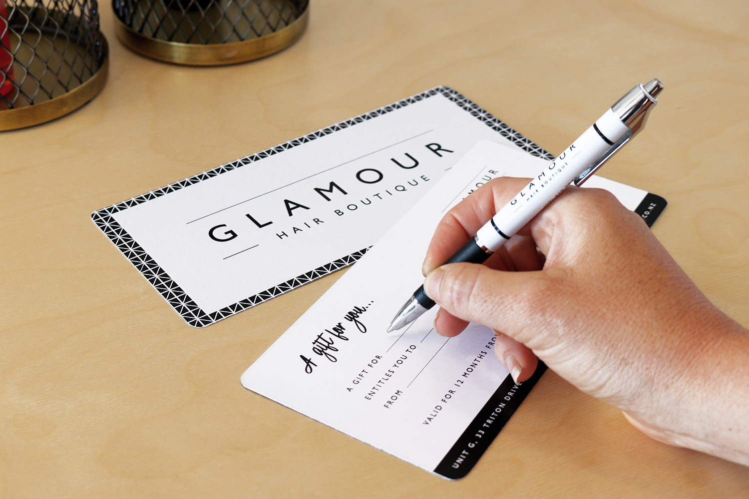 Glamour Hair Boutique Gift Certificate Design