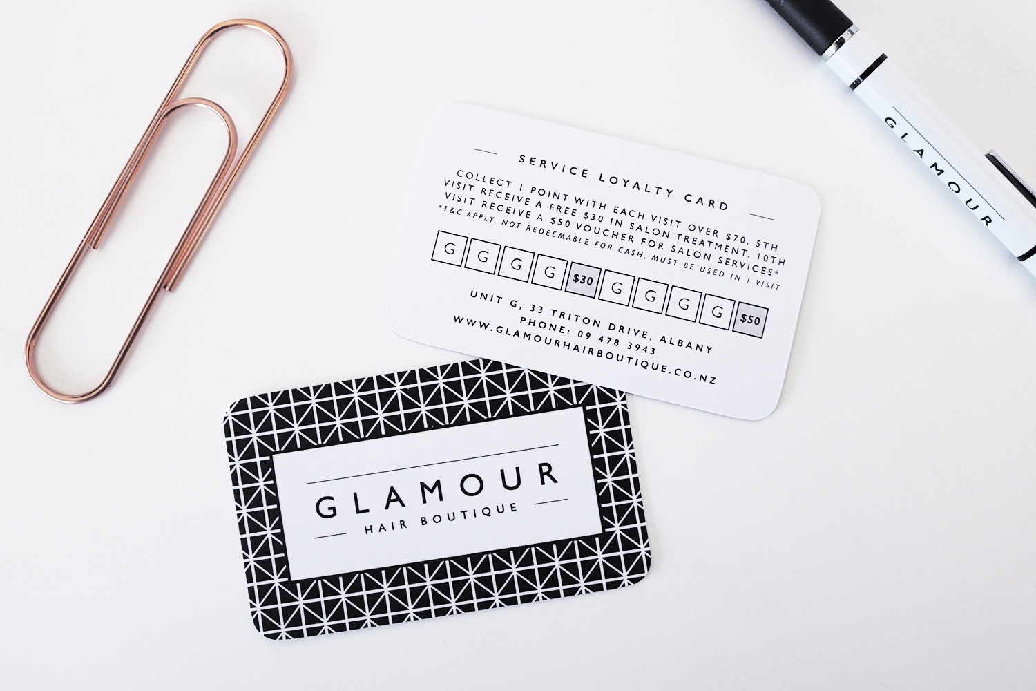 Glamour Hair Boutique Service loyalty card design