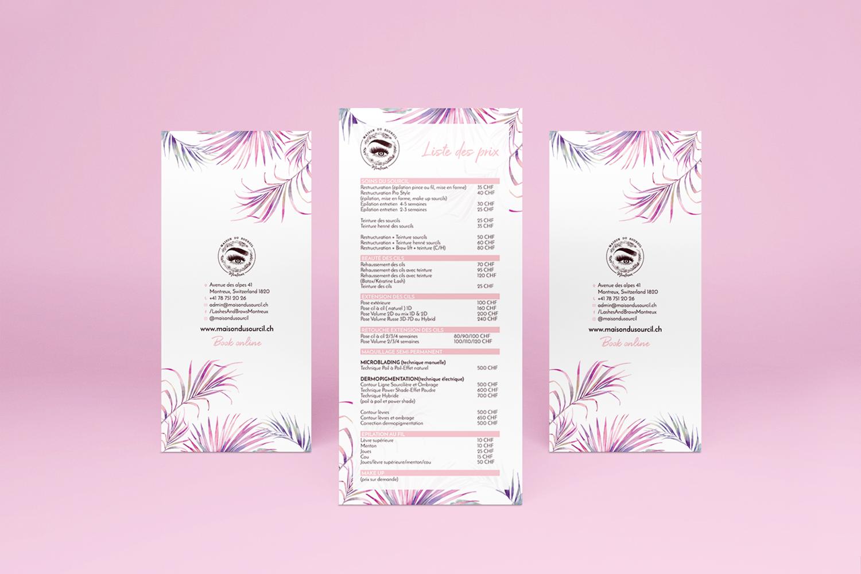 Maison Du Sourcil DL Printed Service Menu