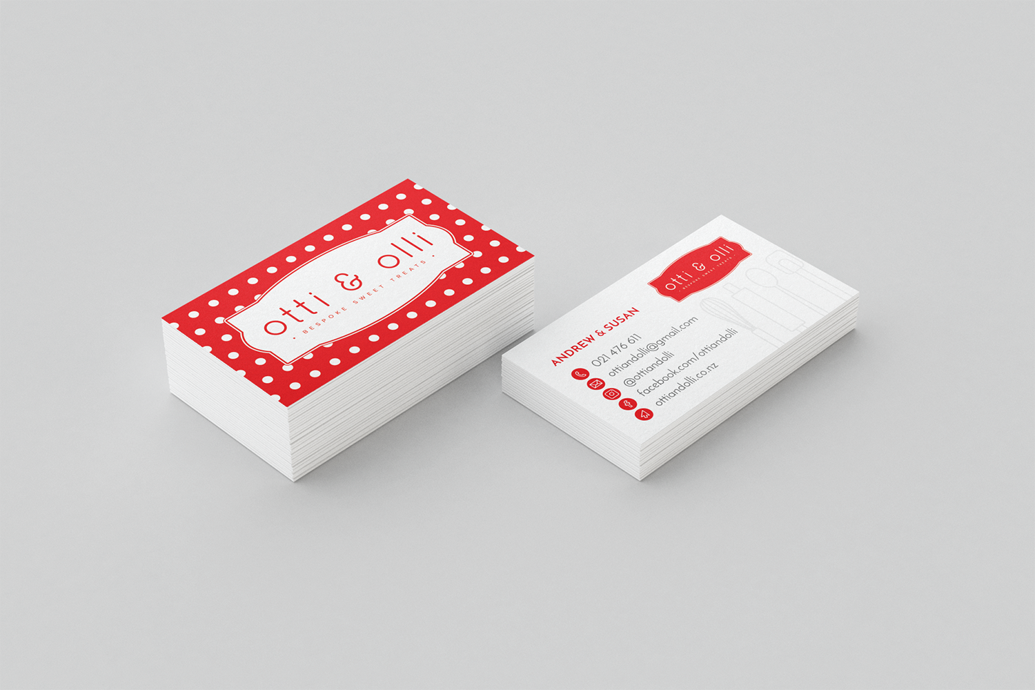Red and White Polka-Dot Business Cards for Otti and Olli