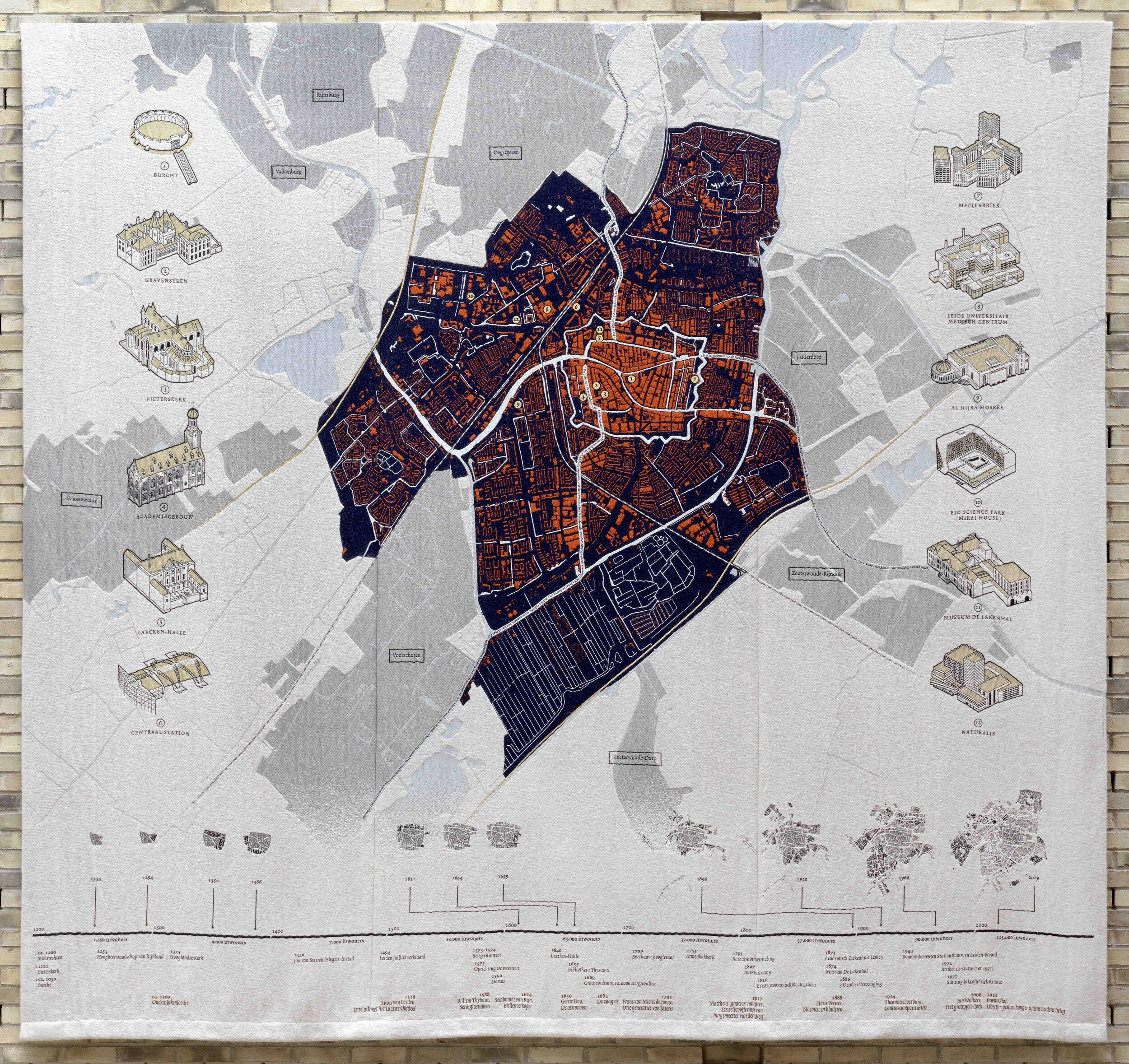 Ankie Stoutjesdijk,  Een geweven geschiedenis van Leiden, 2016-2019,  ontwikkeld en geweven in TextielLab/TextielMuseum Tilburg, Collectie Museum De Lakenhal, Leiden. Foto: Gert Jan van Rooij.