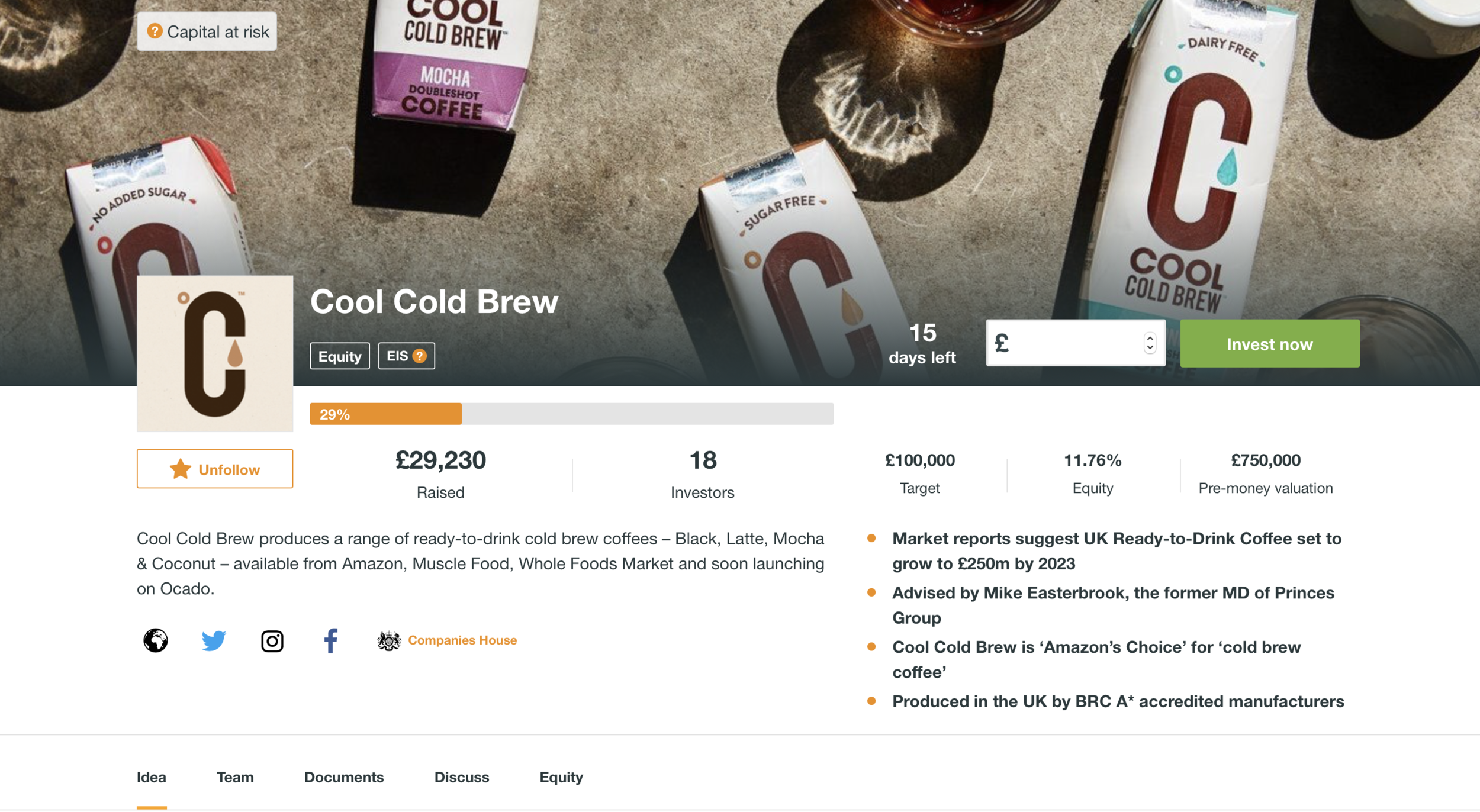 Cool Cold Brew on Crowdcube 2019
