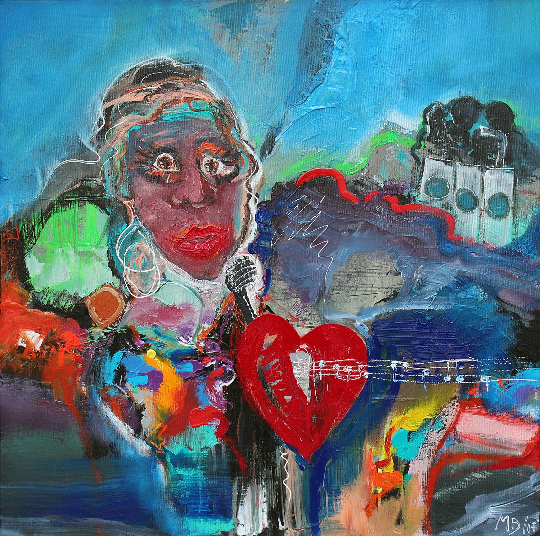 """""""Den Røde Tråd"""" 69x69 cm. (Hommage til Billie Hollyday) (Solgt)"""