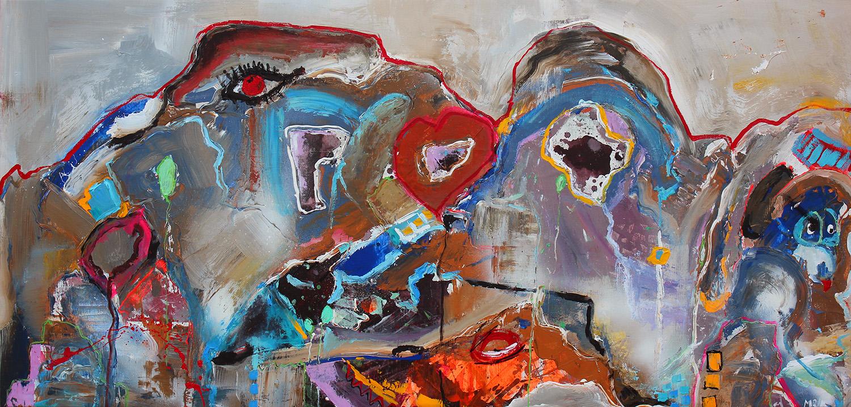"""""""Den Røde Tråd 2"""" 163x77 cm. (Solgt)"""