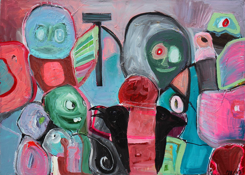 """Livets Pølse"" 50x69 cm. (solgt)"