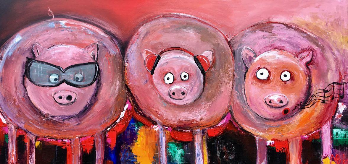 """""""De tre små grise"""" 70x140 cm. (Solgt)"""