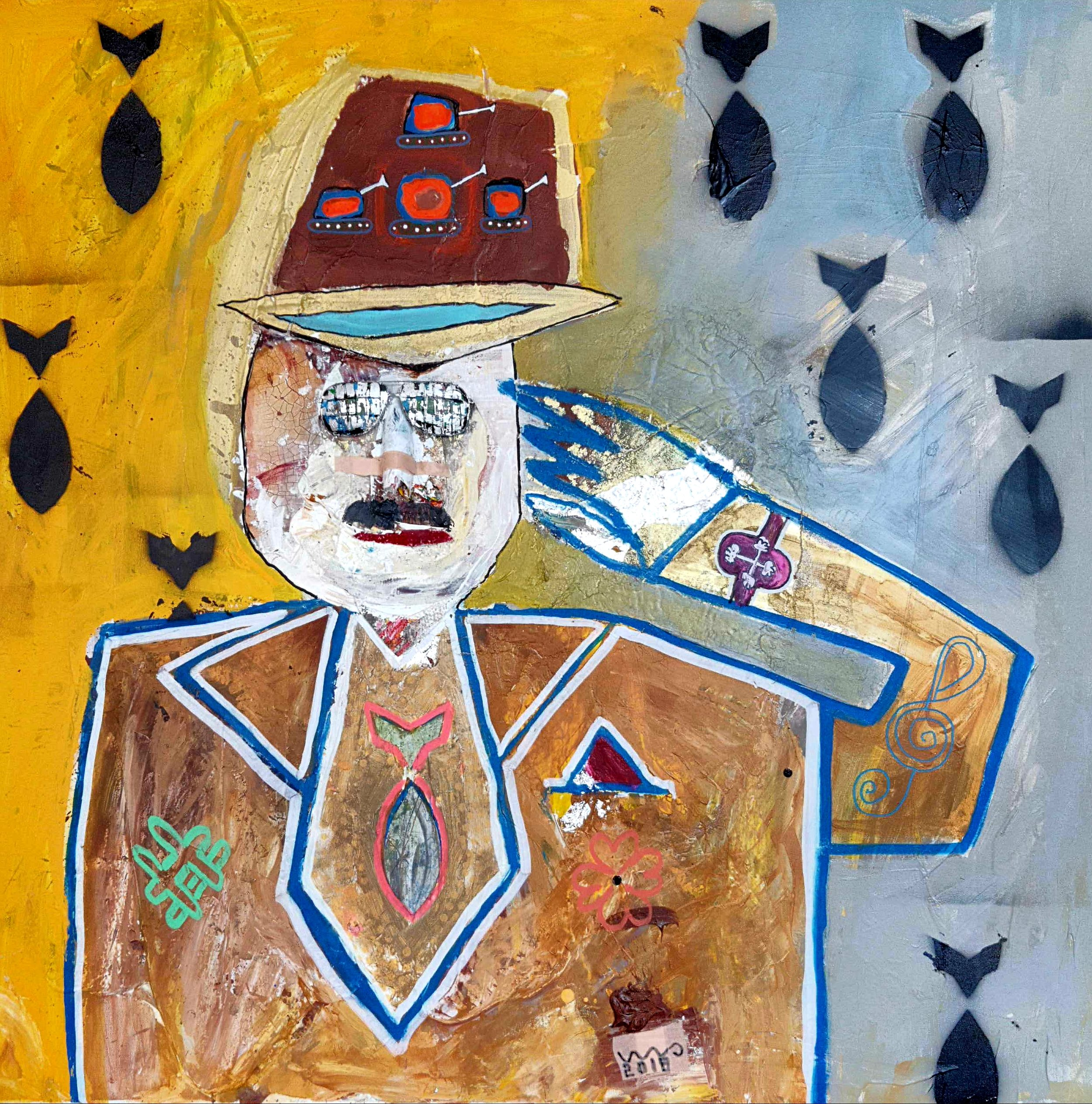 """""""Yes Sir"""" 100x100 cm. - (solgt)"""