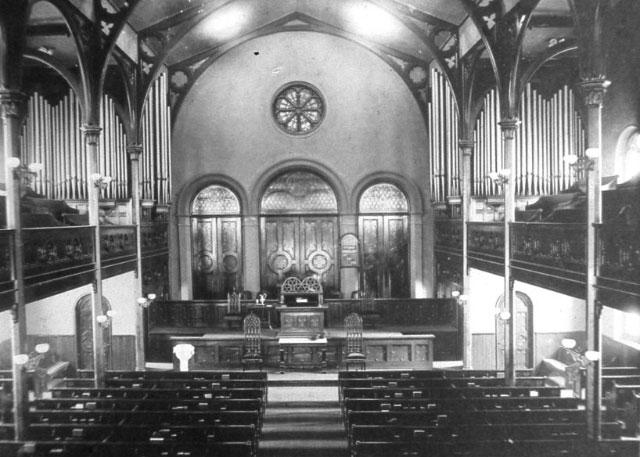 Church interior at Madison & Grace, 1916