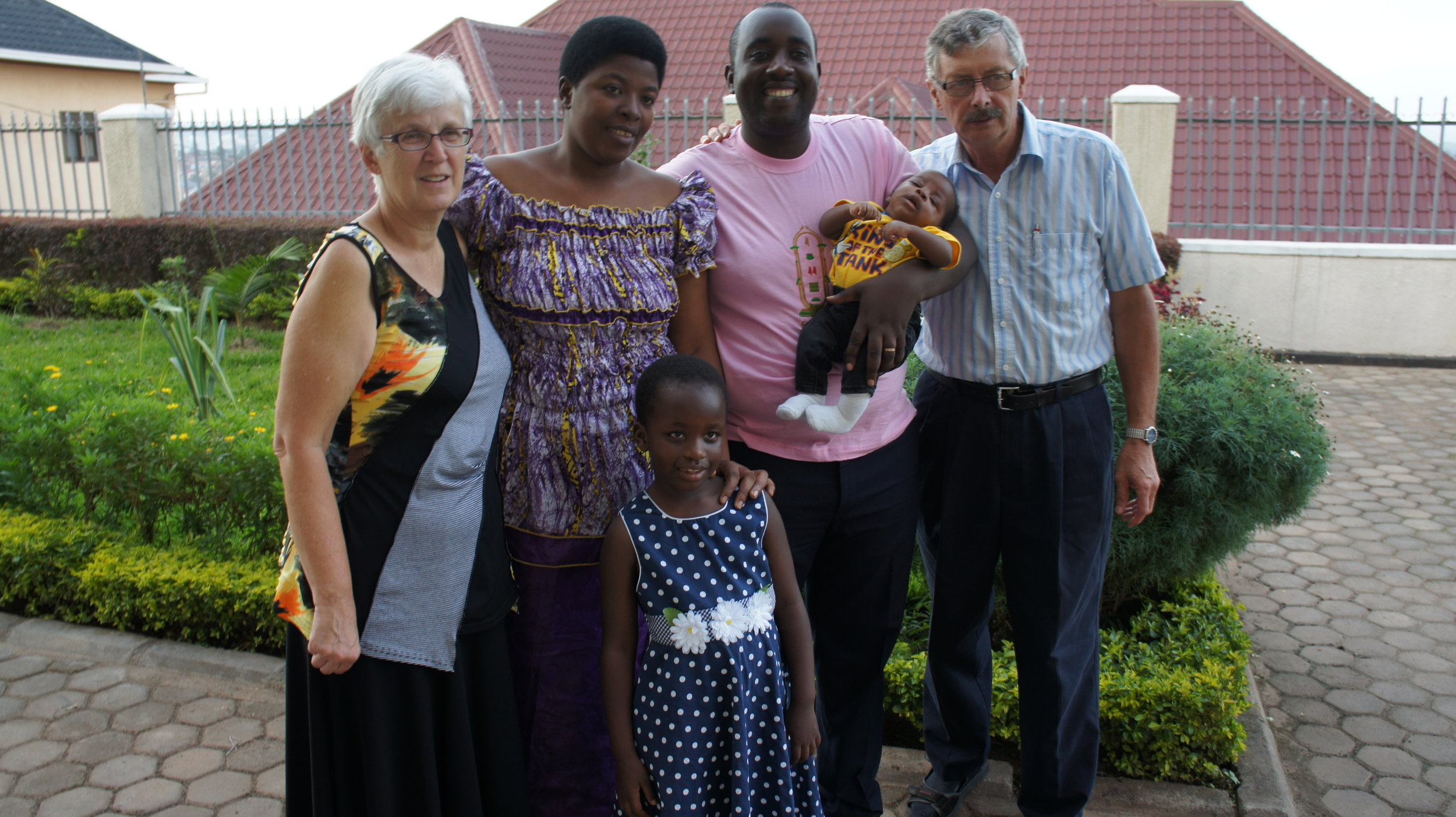 David and Edith during one of their regular visits to Rwanda, with Jean Paul and his family.
