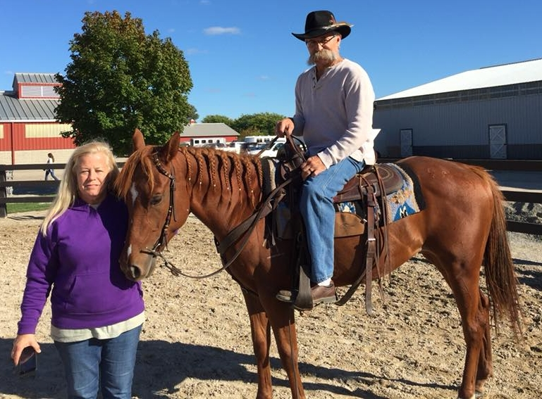 9-22-18  Congratulations to Beth and Lyndon Heim of Warrens, Wisconsin . . .  They are the happy new adopters of our stellar Mercedes today at the show!!!! Mercedes will join two other trail mares in Warrens.