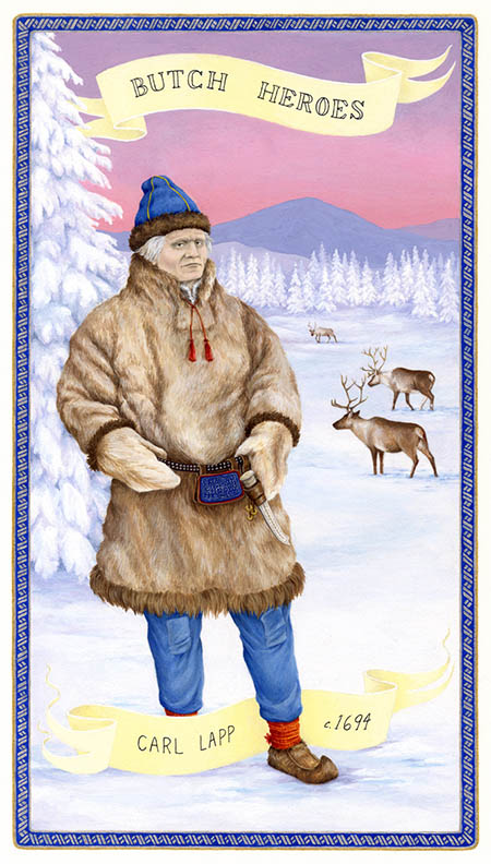 Card-sized artwork showing Carl Lapp standing in a winter landscape with reindeer in the background.