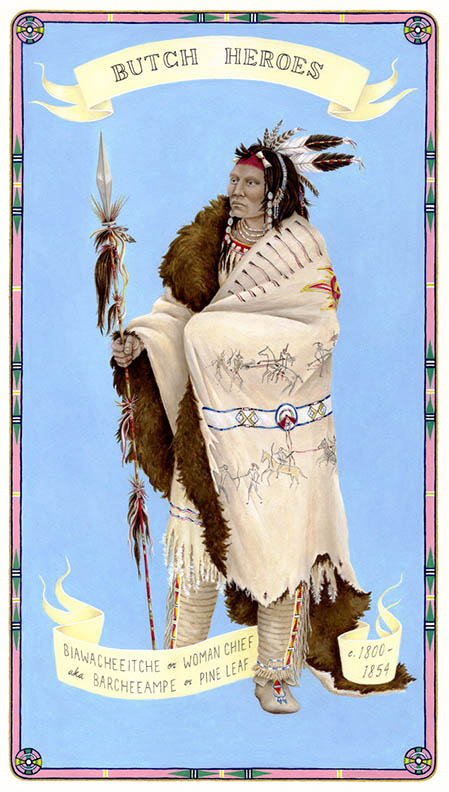 Biawacheeitche or Woman Chief aka Barcheeampe or Pine Leaf c. 1800-1854 Apsáalooke Nation gouache on paper, 11 x 7 inches 2011 In the collection of the Davis Museum at Wellesley College