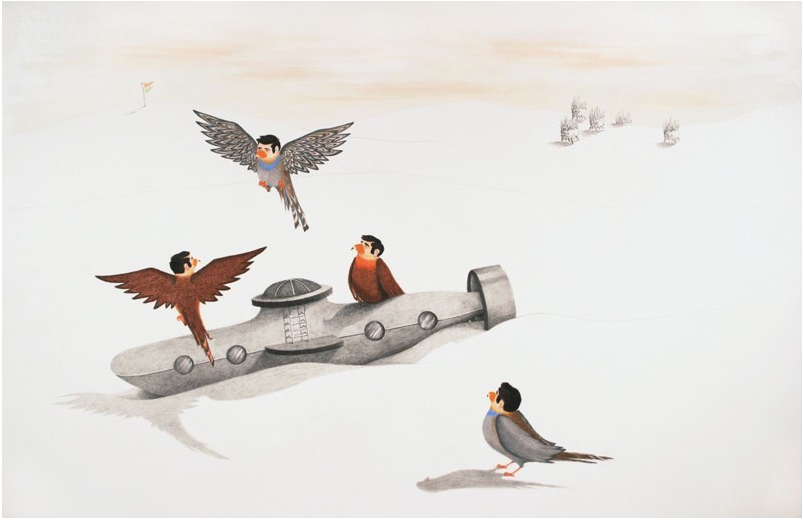 The Birdmen Assess the Submarine