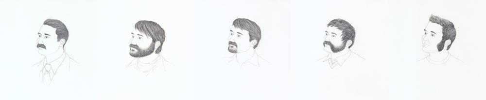 Self-Portrait with Facial Hair I-V