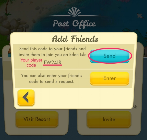 Step 3: Tap the blue button to send your player code to your friends