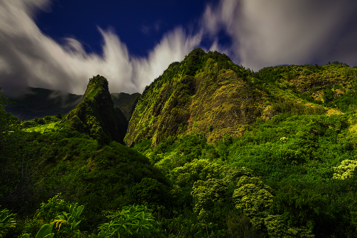The Iao Valley Needle  (above left)  a mile and a half from our offices just outside Wailuku Town.